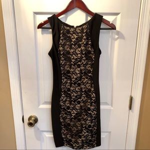 Black/Tan Lace Fitted Dress